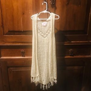 Girls 14 Justice Long Off White Sweater Vest